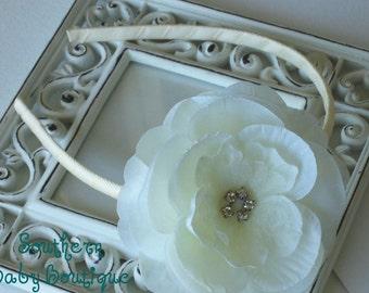 NEW ITEM---Rhinestone Flower Headband---Eve---Ivory Cream