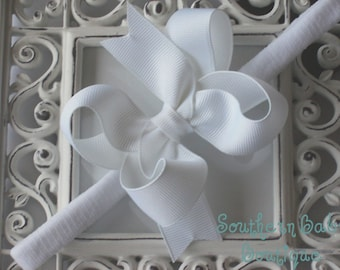 Boutique Baby Girl Toddler Hair bow Dainty Headband----SIMPLY WHITE----Makes a great gift
