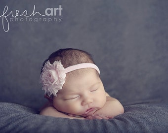Boutique Baby Girl Toddler Soft Stretch FRAYED SHABBY Flower Headband-----Pink-----Photo Prop