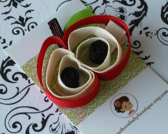 NEW ITEM----Boutique Baby Girl Toddler 3D Sculpted Ribbon Clippie-----Red Apple