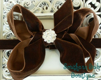 NEW ITEM----Boutique Baby Girl Interchangeable Headband with Rhinestone Velvet Bow-------Chocolate Brown------Winter Romance