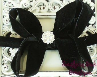 NEW ITEM----Boutique Baby Girl Interchangeable Headband with Rhinestone Velvet Bow-------BLACK------Winter Romance