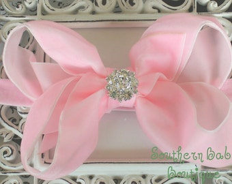 NEW ITEM---Boutique Baby Girl Interchangeable Headband with Rhinestone Velvet Bow---PINK---Winter Romance--Sale Sale