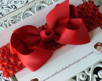 NEW ITEM----Boutique Baby Toddler Girl Hair Bow Clip with Crochet Headband----RED----