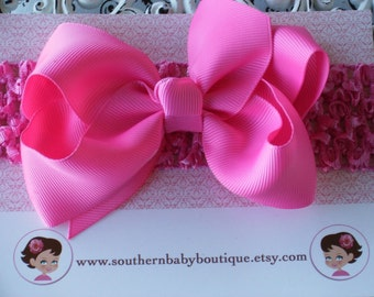 NEW ITEM----Boutique Baby Toddler Girl Hair Bow Clip with Crochet Headband----HOT Pink----