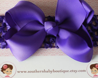 NEW---Boutique Baby Toddler Girl Hair Bow Clip with Crochet Headband---Purple