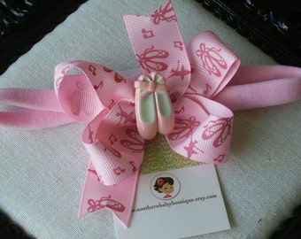 NEW ITEM-----Boutique Baby Girl Toddler Hair bow Dainty Headband-----BALLET----