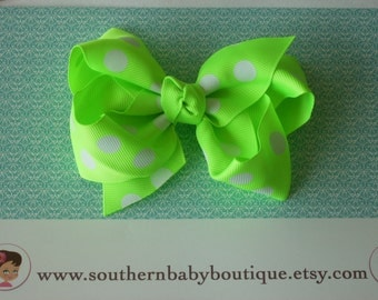 INVENTORY BLOWOUT SALE---Boutique Large Hair Bow Clip---Polka Dots---Neon Green---
