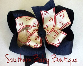 NEW----Big Boutique Doubled Layered Hair Bow Clip----Anchors----