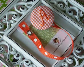 Boutique Monogrammed Baby Toddler Girl----Paci Clip-----Pacifier Holder--------ORANGE--------You Pick Letter-------