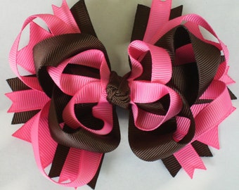 Closeout Sale--Ribbon and Layers and Loops OH MY---Boutique Hair bow Clip--Hot pink Pink-and Brown-----