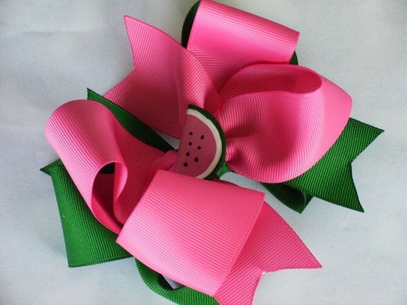 Big Boutique Doubled Layered Hair Bow Clip------Hot Pink and Green--------WATERMELON PASSION