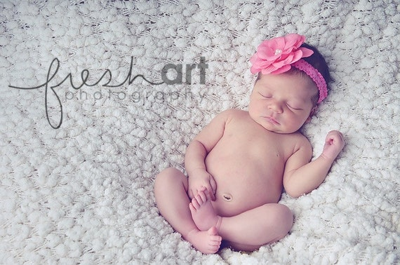 NEW ITEM----Boutique Baby Girl Toddler Lace Headband Pearl Flower-----Hot Pink-----Photo Prop