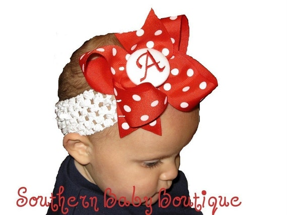 Boutique Custom Monogrammed Hair Bow Clip and Crochet Headband Set--------Polka Dots------YOU PICK Color and Letter