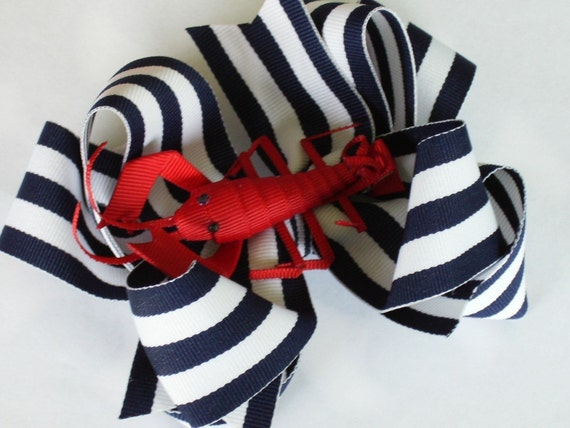 Big Boutique Doubled Layered Hair Bow Clip and 3-D CLIP------MAINE LOBSTER-----Navy and White Stripes-----