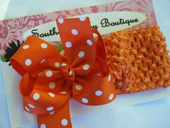 Boutique Baby Girl Toddler Hairbow Crochet Headband-----Orange with White Polka Dots------SALE