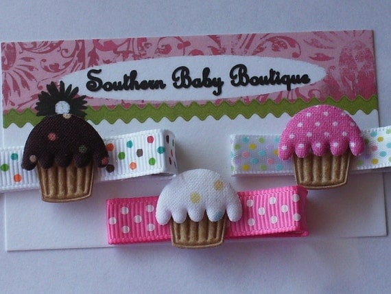 New Item----Boutique Baby Girl Toddler Clippies-----CUPCAKES----Set of 3----FREE SHIPPING