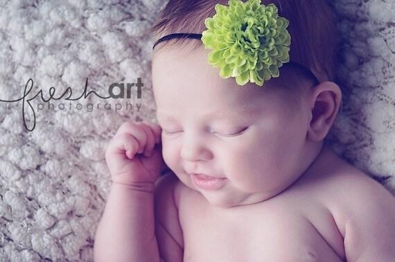 Boutique Newborn Baby Girl Toddler Soft Stretch Flower Headband-----LIME POM POM-----Photo Prop