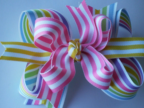 NEW----Big Boutique Doubled Layered Hair Bow Clip----Fancy Rainbow
