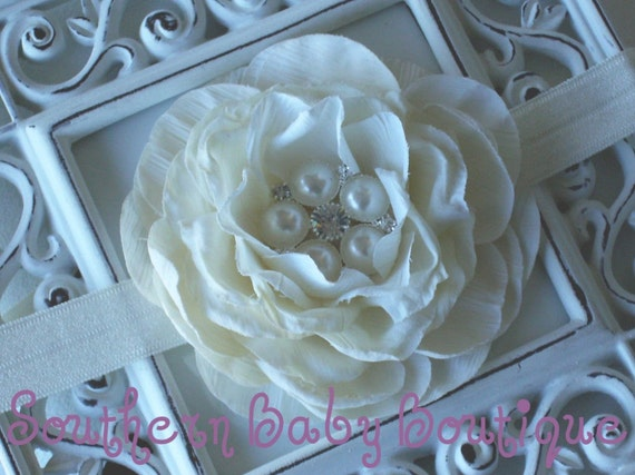 NEW ITEM----Boutique Baby Girl Stretch Headband Rhinestone Pearl Rose-----ERICA-----You Pick Color