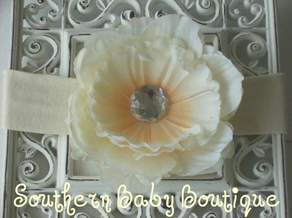 INVENTORY BLOWOUT SALE---Boutique Baby Girl Toddler Flower Headband---Peony Princess--Cream