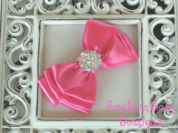 INVENTORY BLOWOUT SALE----Boutique Triple Layered Satin Hair Bow Clip with Rhinestoness-----Hot Pink----