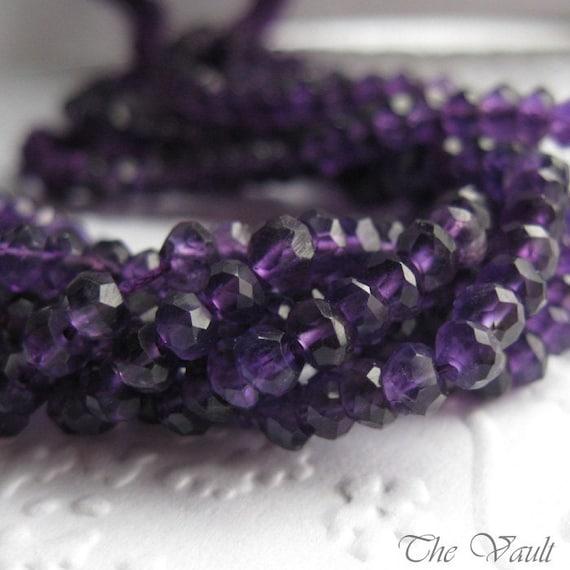 Amethyst faceted rondelles, 3.5mm - 4mm,  dark purple, 40 gemstone beads
