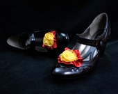 Gryffindor Shoe Clips - Scarlet Red and Gold ribbon rose shoe accessories