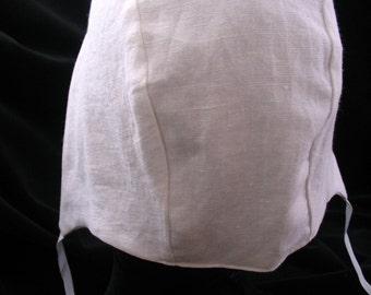 Medieval Coif in white Linen for SCA Garb/ Elizabethan Hat / Arming Cap/ LARP/ Men Women