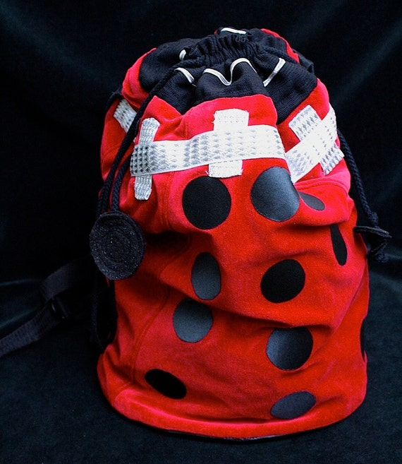 Red Velveteen Slouch Sack/ Backpack ROBOT Inspired by Dr Who Red Dalek OOAK upcycled