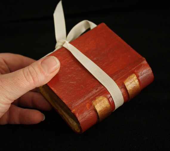 Painted Paper Mache Book-Shaped Box-  great little box for small gifts or jewelry storage