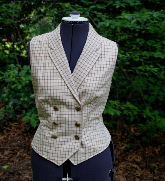 Steampunk Double Breasted ladies vest - nice fit, working pockets, fully lined, Cream or Ecru and Chocolate Brown  Medium Ralph Lauren