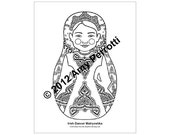 Irish Dancer Matryoshka Coloring sheet PDF