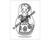 Mexican Tehuana Matryoshka Coloring Sheet Printable PDF