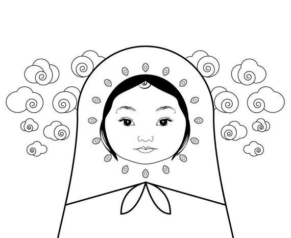 babushka coloring pages | Russian Doll Babushka Coloring sheets PDF