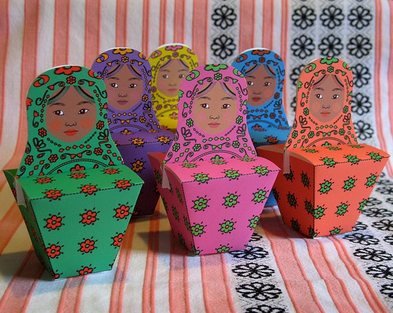 African Matryoshka Party Favor Boxes PDF Printable