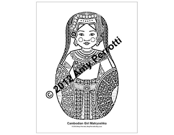 Cambodian Girl Matryoshka Coloring Sheet Printable file