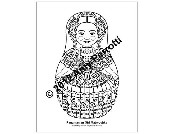 Panamanian Girl Matryoshka Coloring Sheet Printable file