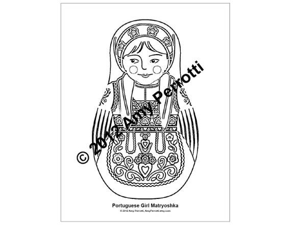 Portuguese Girl Matryoshka Coloring Sheet Printable file
