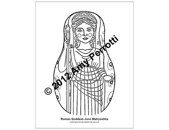Roman Goddess Juno Matryoshka Coloring Sheet Printable PDF