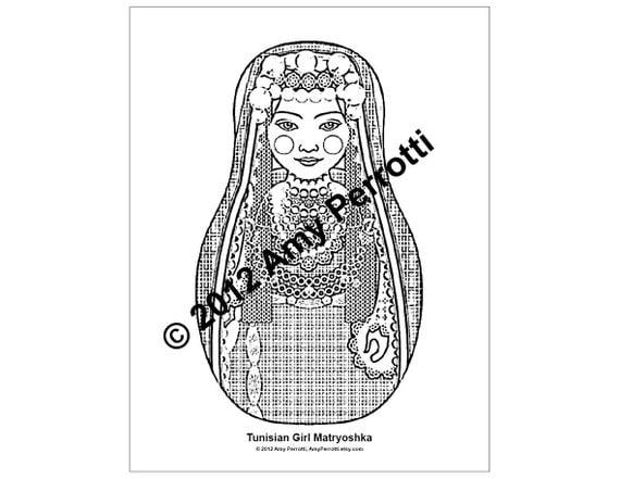 Tunisian Girl Matryoshka Coloring sheet PDF