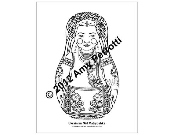 Ukrainian Girl Matryoshka Coloring Sheet Printable PDF