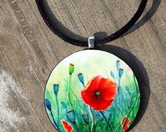 Tiny Bits of Nature - Poppies - Necklace - Large Round