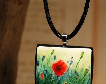 Tiny Bits of Nature - Poppies - Necklace - Large