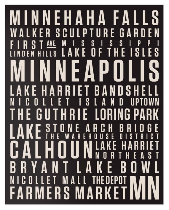 Minneapolis Digital Print // 16x20 Beige on Black // Locality