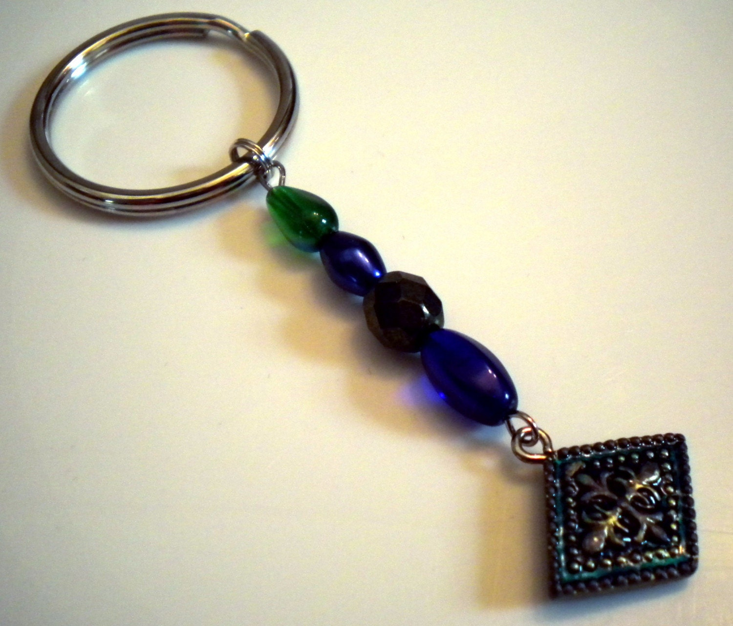 blue and green beaded key ring