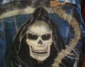 Grim Reaper, Hand Painted, Men's M Levi's Denim Jacket