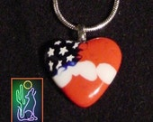 Lampwork Glass American Flag Heart Pendant Necklace on 18 inch 2 mm Sterling Snake Chain