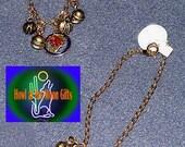 Gold Flower Cloisonne Pendant Chain Anklet