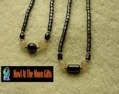 Hematite Bead Necklace with Rose Quartz Stones